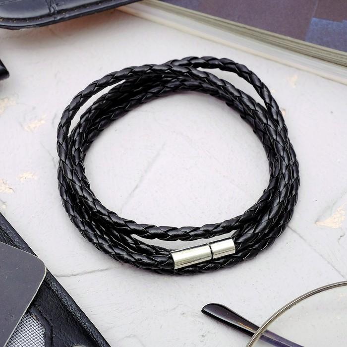 """Браслет унисекс """"Кожаное плетение"""", цвет чёрный, 82см"""
