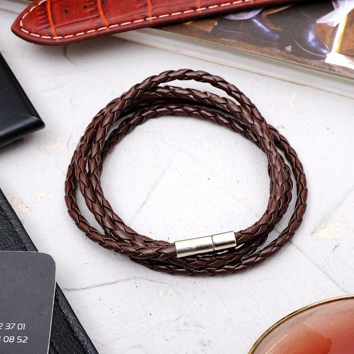 """Браслет унисекс """"Кожаное плетение"""", цвет коричневый, 82см"""