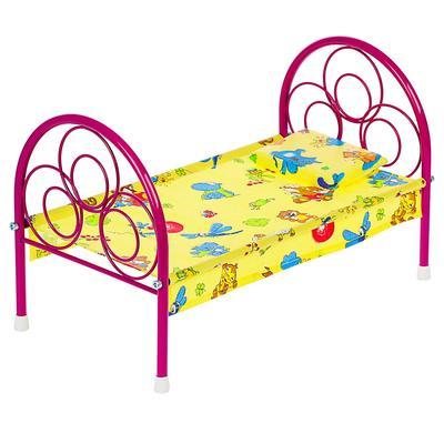 Кроватка для кукол, металлический каркас, МИКС - Фото 1