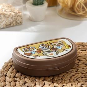 Бутербродница IDEA «Совы», цвет коричневый