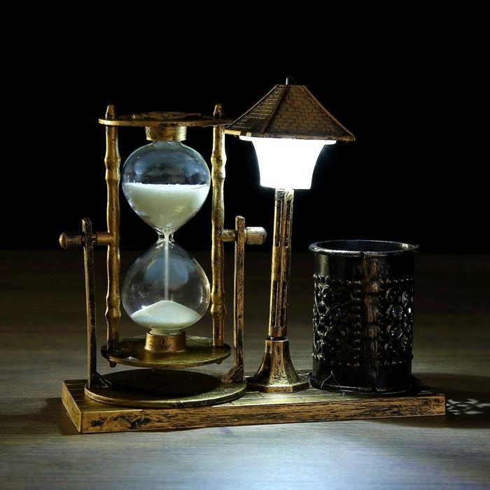 Часы песочные Уличный фонарик с подсветкой и карандашницей, 6.5х15.5х14.5 см, микс