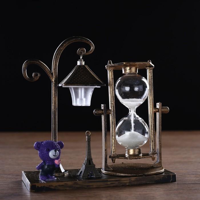 Часы песочные Уличный фонарик с подсветкой, 15.5х6.5х15.5 см, микс