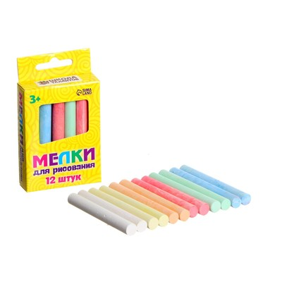 Мелки для рисования, набор 12 шт., 6 цветов, 50 г - Фото 1