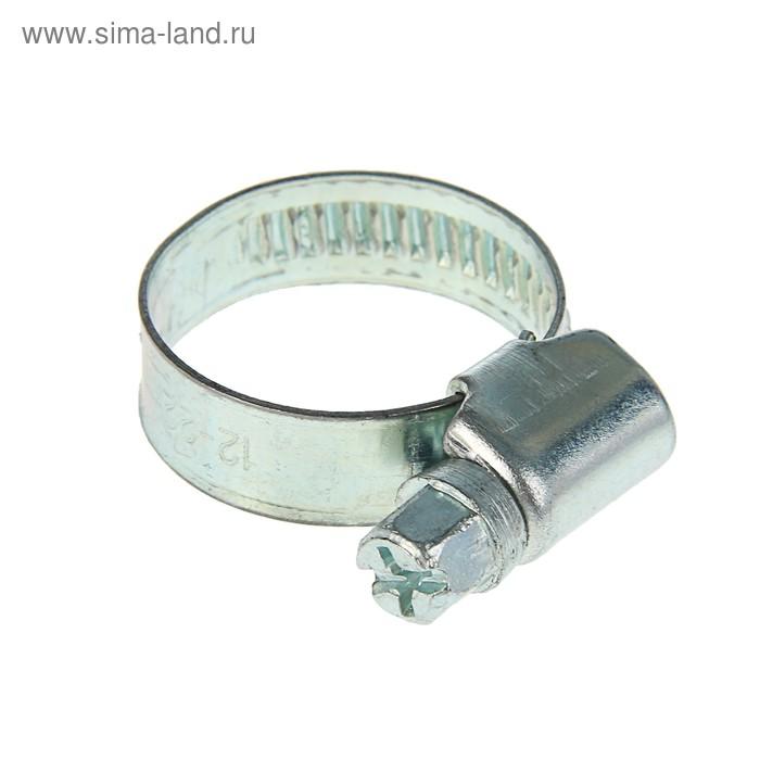 Хомут червячный, диаметр 12-22 мм, ширина ленты 9 мм, оцинкованный