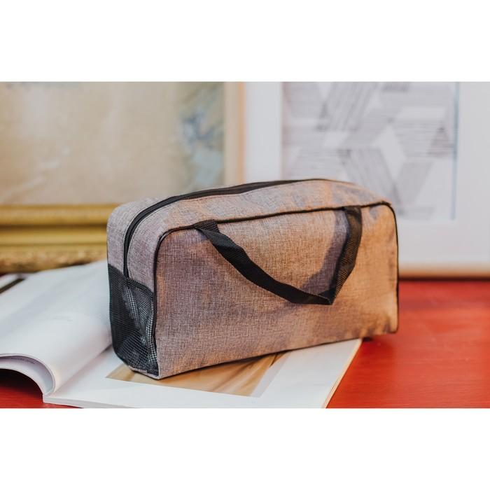 Косметичка-сумочка, отдел на молнии, ручки, цвет коричневый