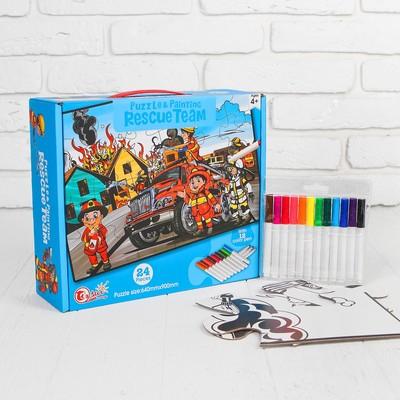Раскраска-пазл 24 детали «Пожарная команда» 12 фломастеров, размер собранного: 64 × 90 см