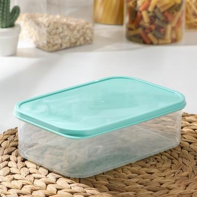 Контейнер прямоугольный Доляна, пищевой, 1,2 л, цвет бирюзовый - Фото 1