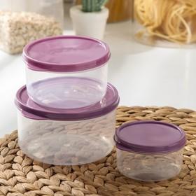 Набор контейнеров пищевых круглых Доляна, 3 шт: 150 мл, 300 мл, 500 мл, цвет фиолетовый
