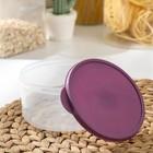 Набор контейнеров пищевых круглых Доляна, 3 шт: 150 мл, 300 мл, 500 мл, цвет фиолетовый - Фото 4