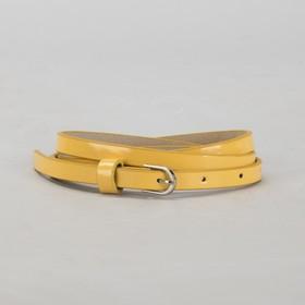 Ремень женский, гладкий, ширина - 1 см, пряжка металл, цвет жёлтый Ош