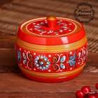 Бочонок, 12×12×8 см, шенкурская роспись, красная