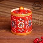 Бочонок, 9×9×9 см, шенкурская роспись, красная