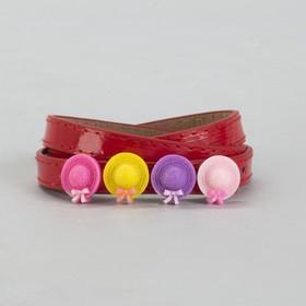 Ремень детский, гладкий, ширина - 1 см, пряжка металл, цвет красный Ош