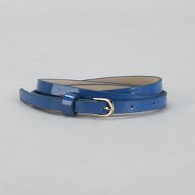 Ремень женский, гладкий, ширина - 1 см, пряжка золото, цвет голубой Ош