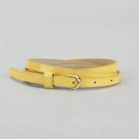 Ремень женский, гладкий, ширина - 1 см, пряжка золото, цвет лимонный Ош
