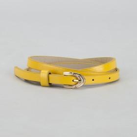 Ремень женский, гладкий, ширина - 1 см, пряжка золото, цвет жёлтый Ош
