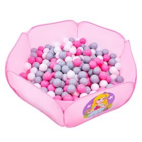 Шарики для сухого бассейна с рисунком, диаметр шара 7,5 см, набор 60 штук, цвет розовый, белый, серый Ош