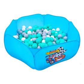 Шарики для сухого бассейна с рисунком, диаметр шара 7,5 см, набор 30 штук, цвет бирюзовый, белый, серый Ош