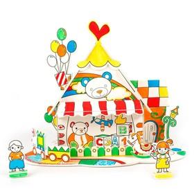 Пазл-раскраска «Игрушечный домик», 5 фломастеров в комплекте