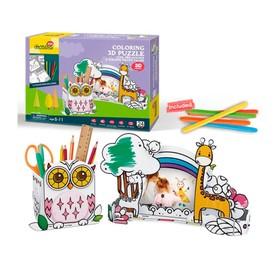 Пазл-раскраска «Сова и жираф», 5 фломастеров в комплекте