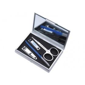 Детский маникюрный набор в футляре с зеркальцем, 4 предмета: ножницы, пилочка, щипчики, книпсер, цвет синий