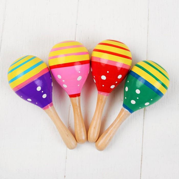 Музыкальная игрушка Маракас, с белым горошком, цвета микс