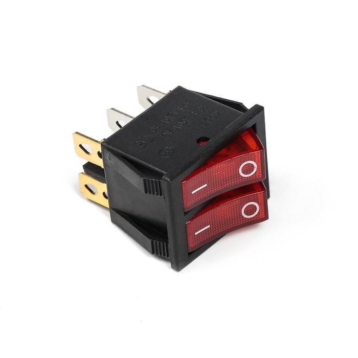 Выключатель клавишный с подсветкой двойной, красный