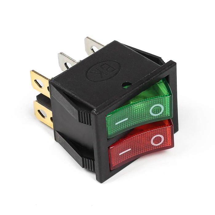 Выключатель клавишный с подсветкой двойной, красно-зеленый