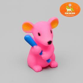 Игрушка пищащая 'Мышь' для собак, 9 см, микс цветов Ош
