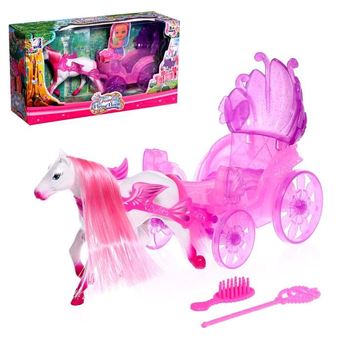 Аксессуары для кукол: Карета «Сказочная» с пони