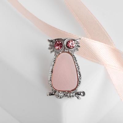 """Брошь """"Сова"""" неясыть, цвет розовый в серебре"""