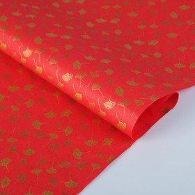 Бумага тутовая, HANJI, «Гинкго», золотые листья, 0,64 х 0,94 м, 30 г/м2 Ош