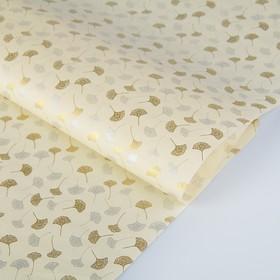 Бумага тутовая, HANJI, «Гинкго», золотые и серебряные листья, 0,64 х 0,94 м, 30 г/м2 Ош