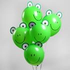 """Шар латексный 12"""" """"Зверята лягушата"""", наклейки, 5  шт., цвет зеленый"""