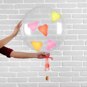 """Шар полимерный 22"""" «Прозрачный с шарами внутри», сердца, 1 шт."""