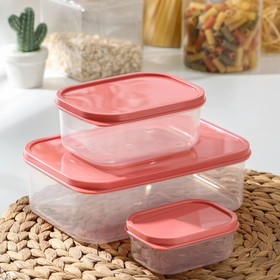 Набор контейнеров пищевых прямоугольных Доляна, 3 шт: 150 мл, 500 мл, 1,2 л, цвет коралловый