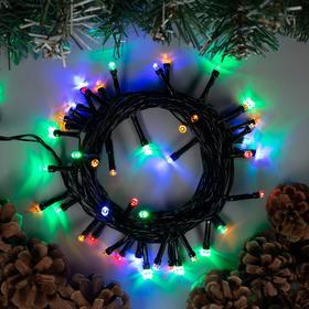 """Гирлянда """"Нить"""" 5 м , IP20, тёмная нить, 50 LED, свечение мульти, 8 режимов, 220 В"""