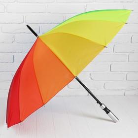 Зонт - трость полуавтоматический «Радуга», 16 спиц, R = 48 см, разноцветный Ош