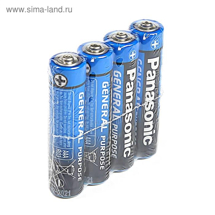 Батарейка солевая Panasonic General Purpose, AAA, R03-4S, 1.5В, спайка, 4 шт.