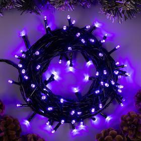 """Гирлянда """"Нить"""" 10 м , IP20, тёмная нить, 100 LED, свечение фиолетовое, 8 режимов, 220 В"""