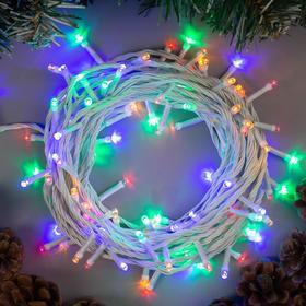 """Гирлянда """"Нить"""" 10 м , IP20, белая нить, 100 LED, свечение мульти, 8 режимов, 220 В"""