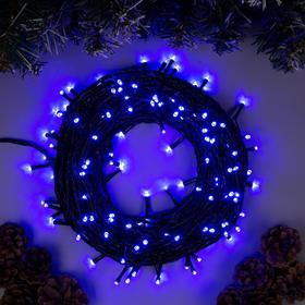 """Гирлянда """"Нить"""" 20 м , IP20, тёмная нить, 200 LED, свечение синее, 8 режимов, 220 В"""