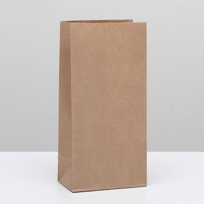 Пакет крафт бумажный фасовочный, прямоугольное дно 12 х 8 х 25 см