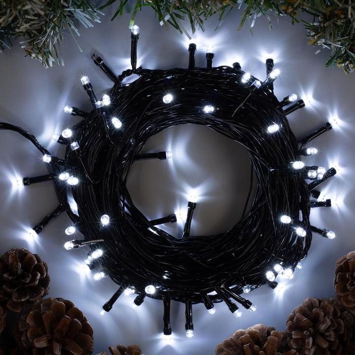 """Гирлянда """"Нить"""" 10 м , IP20, тёмная нить, 100 LED, свечение белое, 8 режимов, 220 В"""