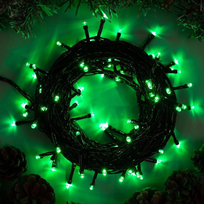 """Гирлянда """"Нить"""" 10 м , IP20, тёмная нить, 100 LED, свечение зелёное, 8 режимов, 220 В"""