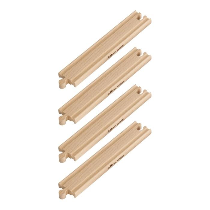 Игровой набор прямых элементов деревянной железной дороги