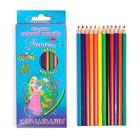 Карандаши 12 цветов, пластиковые, гранённые, в картонной коробке, «Принцесса»