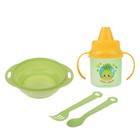 Набор детской посуды «Ням-ням», 4 предмета: тарелка, поильник, ложка, вилка, от 5 мес.