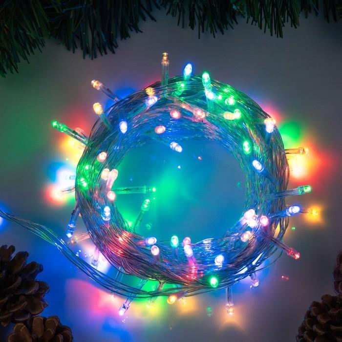 """Гирлянда """"Нить"""" 10 м , IP20, прозрачная нить, 100 LED, свечение мульти, 8 режимов, 220 В"""