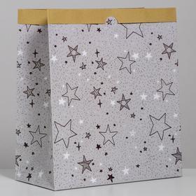 Пакет крафтовый «Звёзды», 32 х 36 х 16 см Ош